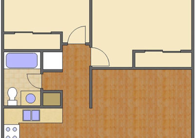 Floorplan: 2 Bedroom, 1 Bath of Broadway Apartments in Auburn, AL