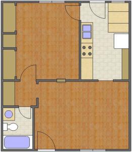 Audubon Floor Plan: 1 Bedroom, 1 Bath of Park Hill Apartments in Auburn, AL
