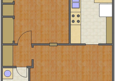 Audubon Floor Plan: 1 Bedroom, 1 Bath