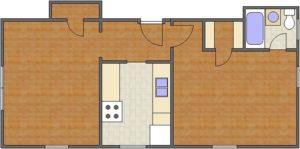 Battery Floor Plan: 1 Bedroom, 1 Bath of Park Hill Apartments in Auburn, AL