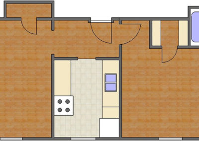 Battery Floor Plan: 1 Bedroom, 1 Bath of Park Hill Apartments in Auburn, AL