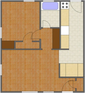 Bradford Floor Plan: 1 Bedroom, 1 Bath of Park Hill Apartments in Auburn, AL