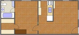 Grant Floor Plan: 1 Bedroom, 1 Bath of Park Hill Apartments in Auburn, AL