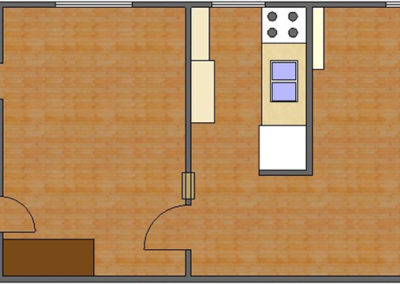 Grant Floor Plan: 1 Bedroom, 1 Bath of Park Hill Apartments in Auburn, AL