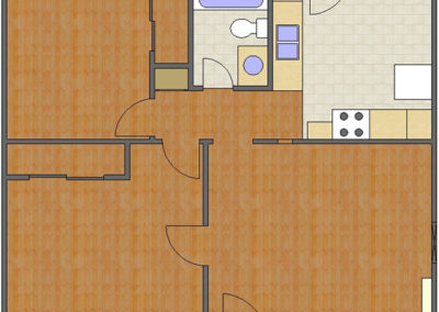 Portland Floor Plan: 2 Bedrooms, 1 Bath