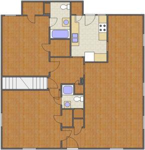 Battery Floor Plan: 2 Bedrooms, 2 Baths of Park Hill Apartments in Auburn, AL