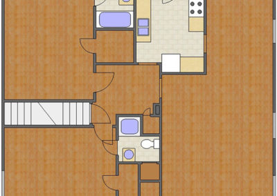 Battery Floor Plan: 2 Bedrooms, 2 Baths of Park Hill Apartments in Auburn, AL