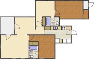 Forsythe Floor Plan: 2 Bedrooms, 2 Baths of Park Hill Apartments in Auburn, AL