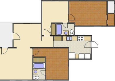 Forsythe Floor Plan: 2 Bedrooms, 2 Baths of Park Hill Apartments in Auburn, AL